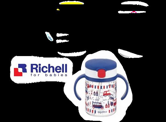 Richell AQ Clear Straw Bottle Mug 200ml (Blue)
