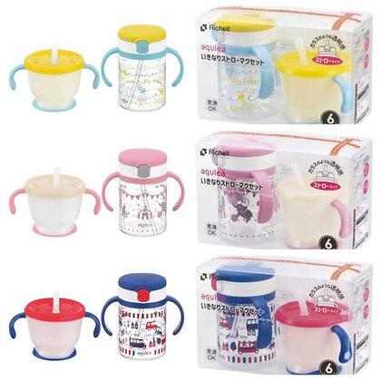Richell Aqulea Straw Training Mug 150ml + Clear Straw Bottle Mug 200ml Set
