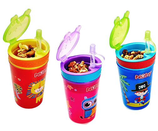 Nuby Snack N' Sip 2-in-1 Drink Cup with Straw