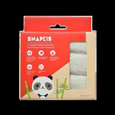 Snapkis 2-Sided Washcloths (Grey)