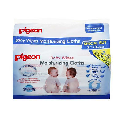 Pigeon Baby Wipes Moisturizing Cloths (2 x 70 wipes)