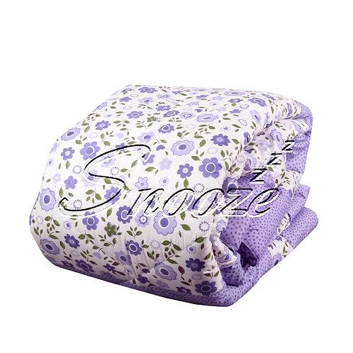 Winter Fiber Quilt - Purple Flowers Design - لحاف شتوي فايبر - تصميم الورد