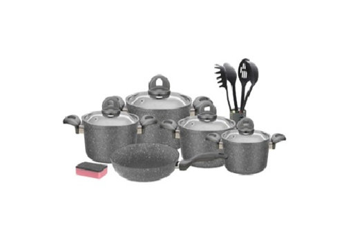 Granite Cookware Set - 15Pcs - Grey  -  طقم جرانيت بغطاء أستانلس 15 قطعه