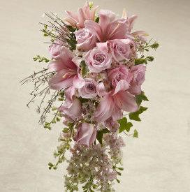 Pink Rose Cascade Bouquet