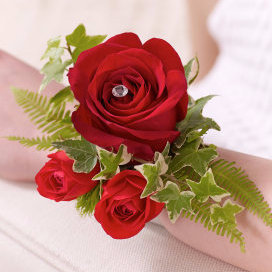 Red Rose & Fern Corsage