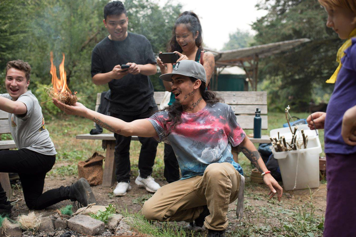 Cypher CURE fire-making nature program in partnership with ReWild Portland