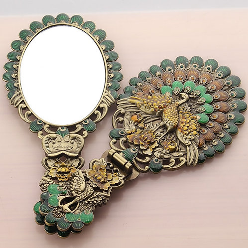 Princess Portable Handle Folding Mirror Hand-Held Vintage Butterfly