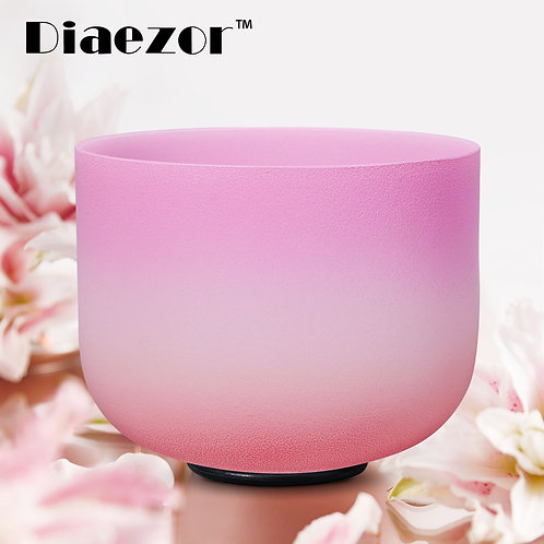 Diaezor 432Hz 10 Inch Chakra Candy Colored Frosted Quartz Crystal Singing Bowl