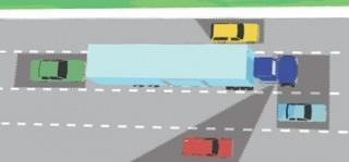 De um modo geral, se você não pode ver o motorista do caminhão em seu espelho lateral, ele não pode vê-lo.