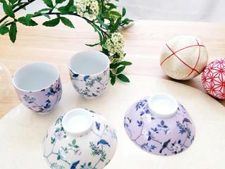 母の日父の日にシノワズリの夫婦茶碗&湯呑のプレゼント