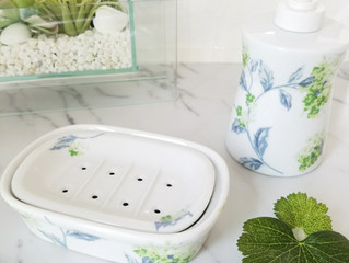 洗面所を爽やかに♡紫陽花のソープボトル&トレイ