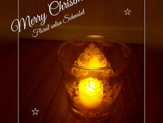 ガラスでクリスマスキャンドル