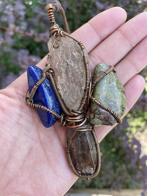 Shamanic Sacred Ankh (Lapis Lazuli, Citrine, Dragons Stone & Super 7)