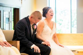 Bride and Groom Laughing, Catholic Wedding Ceremony