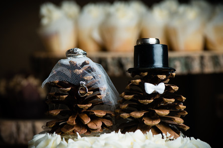 Wedding Rings with Pinecone Bride and Groom