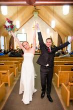 Bride and Groom Winter Ceremony Exit