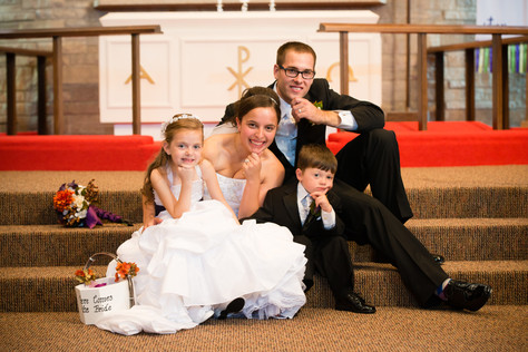 Bride and Groom with Flower Girl and Ring Bearer