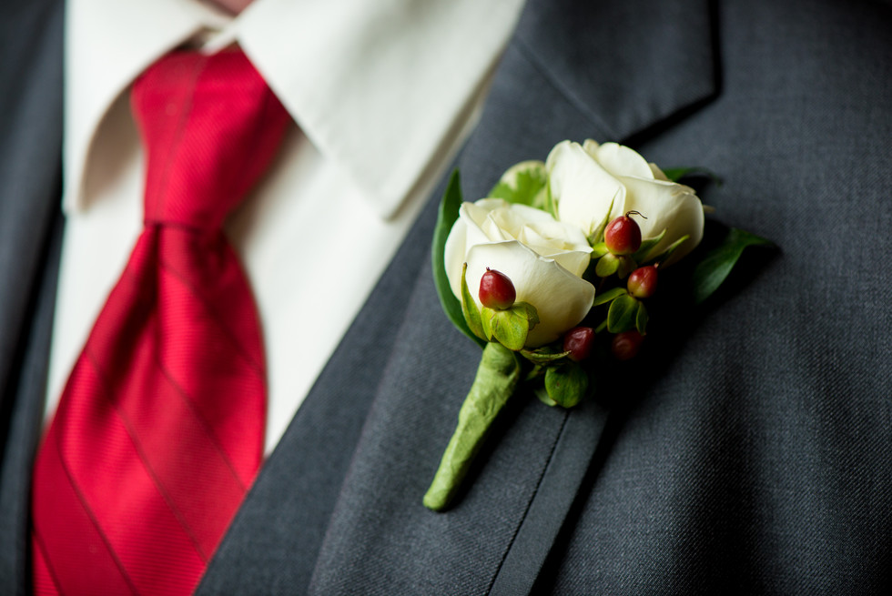 Groom Boutonnierre by Bank of Flowers Menomonee Falls WI