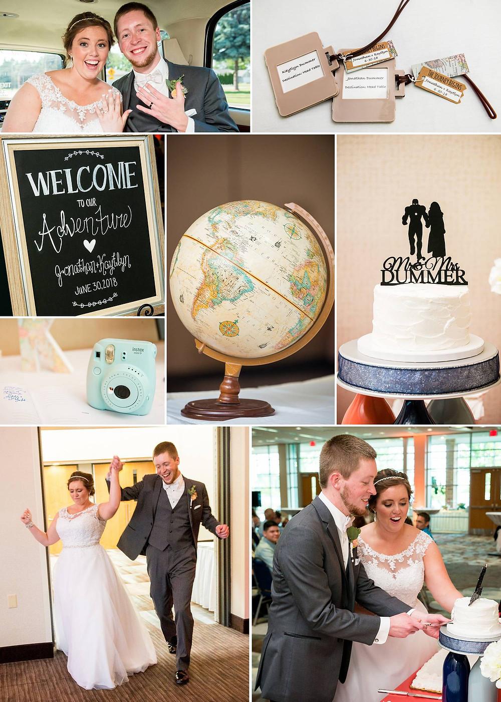 Travel Theme Wedding Wisconsin   Lanari Photography