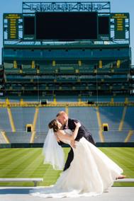 Bride and Groom at Lambeau Field