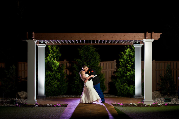 Night Wedding Portrait Under Pergola