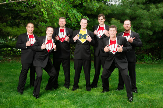 Groomsmen with Michigan and Badgers Shirts
