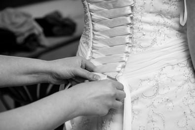Detail of Corset Back Wedding Dress