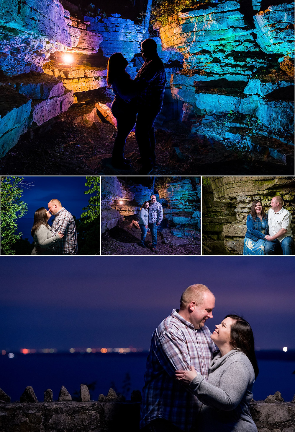 High Cliff Wisconsin Engagement Night Portraits | Lanari Photography