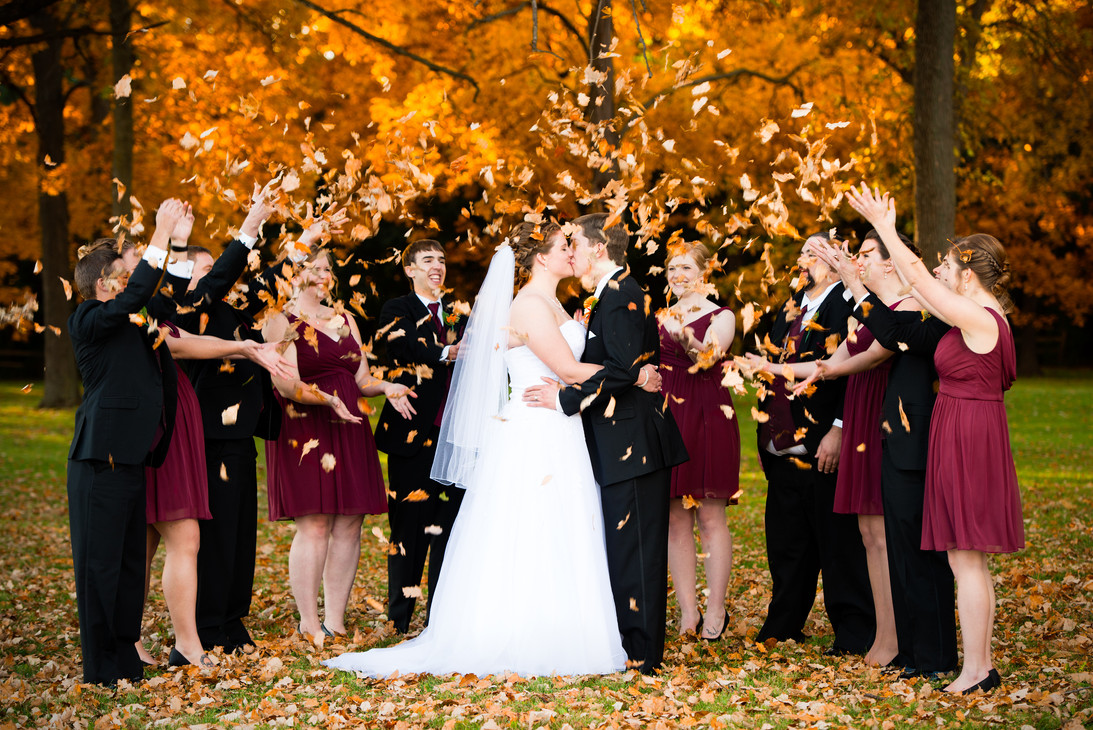 Fall Bridal Party Throwing Leaves Green Bay WI