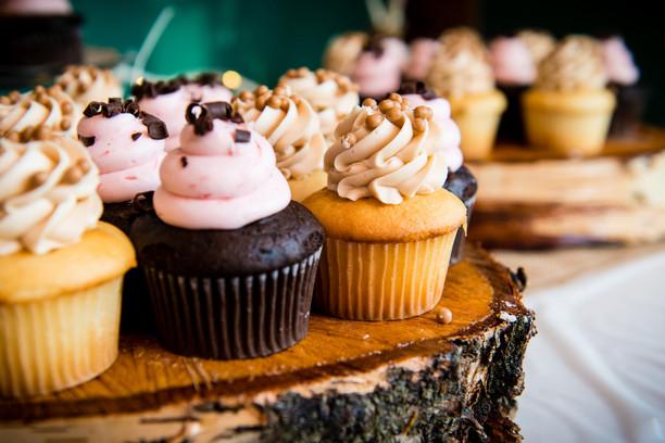 Wedding Cupcakes on Rustic Wood Platter
