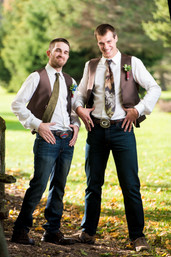 Groom and Best Man in Camo Ties
