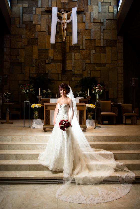 Bridal Portrait in Church with Long Veil
