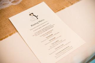 Wedding Reception Kissing Menu