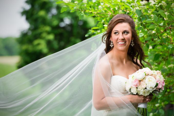 Spring Bridal Portrait with Long Veil