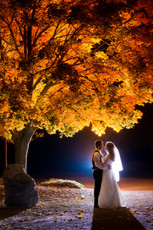 Night Wedding Portrait with Fall Leaves