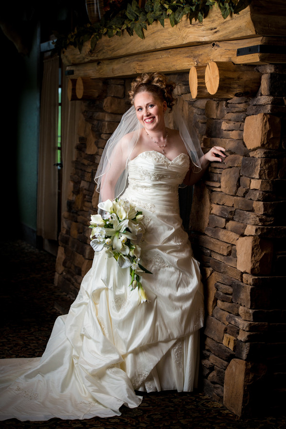 Indoor Bridal Portrait with Fireplace