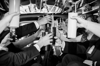 Bridal Party Toast in Limo