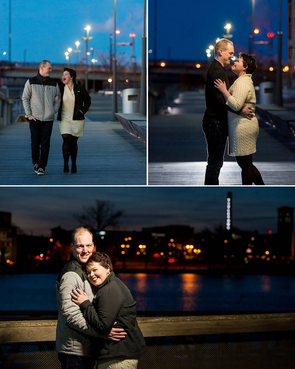 City Deck Green Bay Wisconsin Night Engagement Photos | Lanari Photography