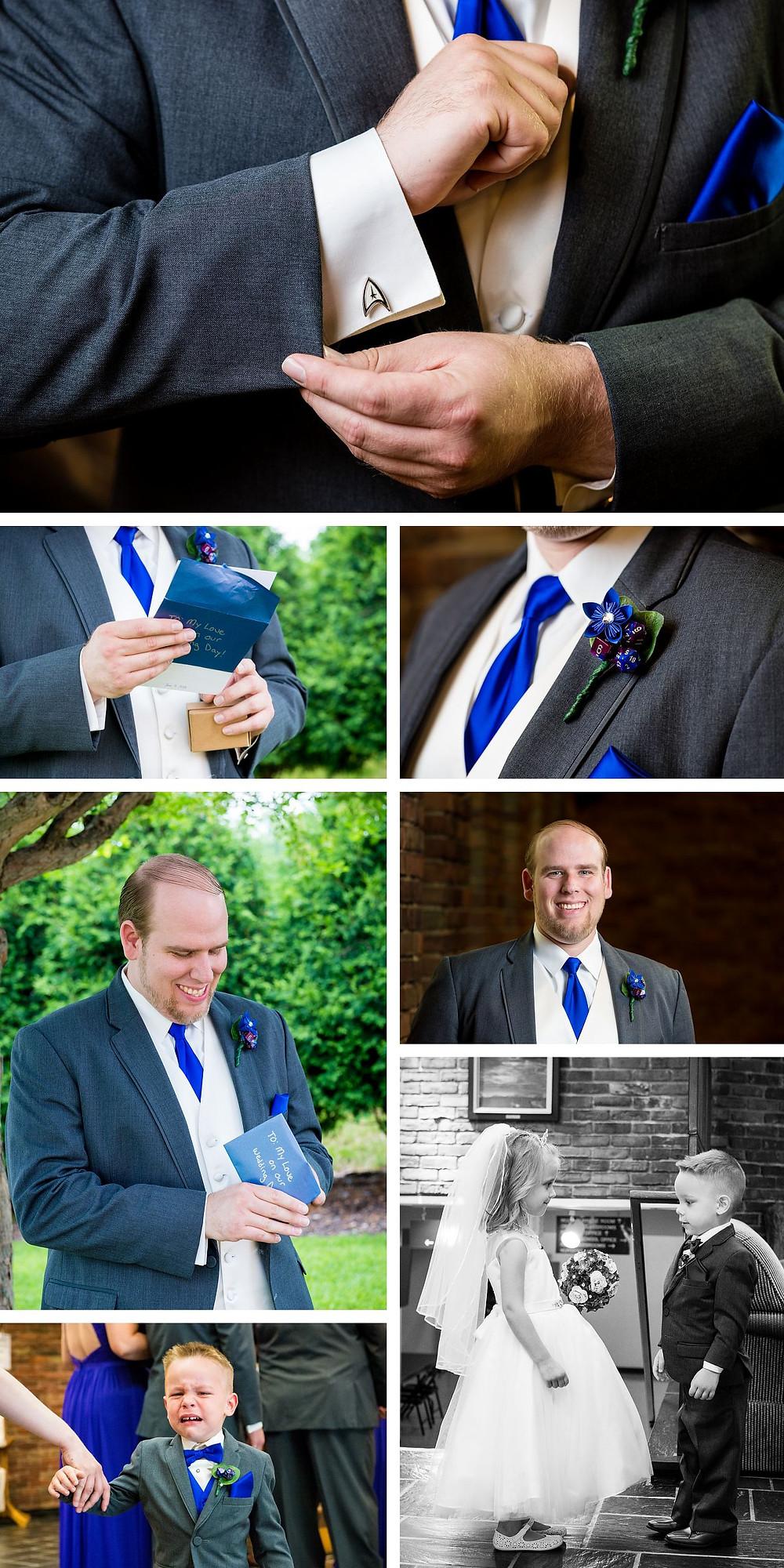 Star Trek wedding cuff links, Wisconsin Wedding Photography