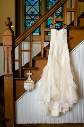 Wedding Dress with Asymmetrical Lace