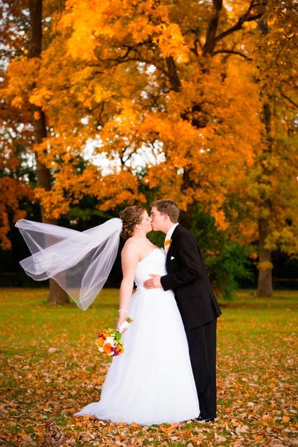 Fall Wedding Couple Green Bay WI