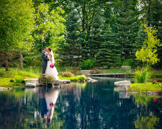 Bride and Groom Portrait with Reflection