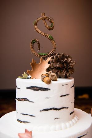 Fall Birch Wedding Cake