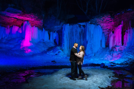 Wequiock Falls Winter Engagement Lanari Photography