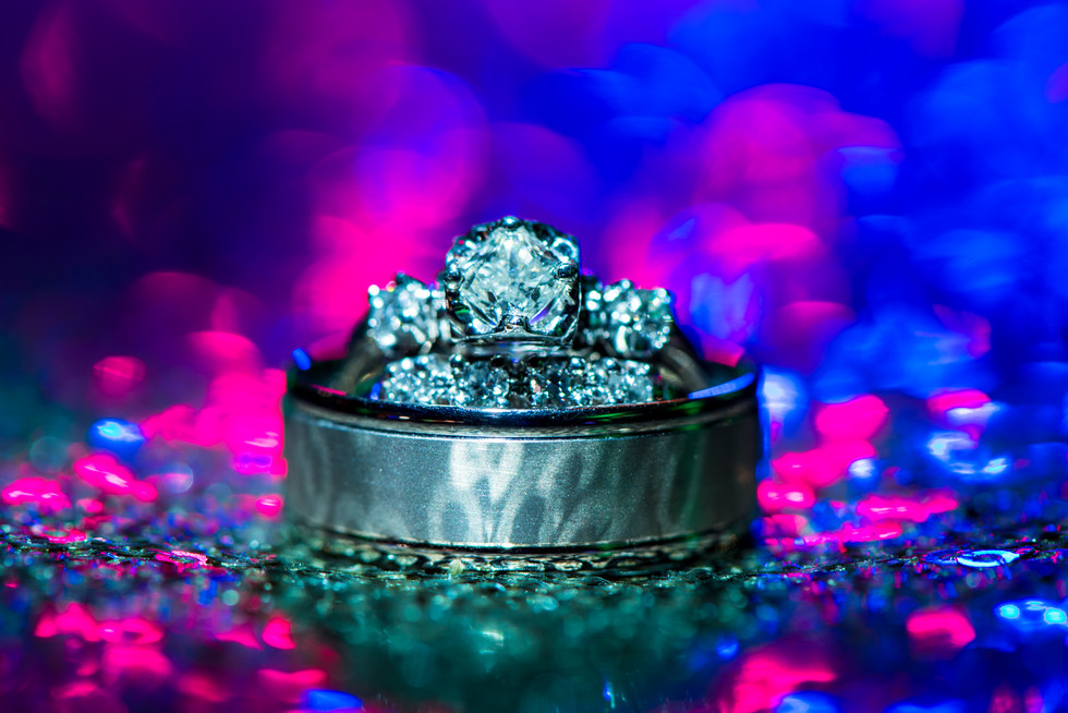 Wedding Rings with Pink and Blue Lighting