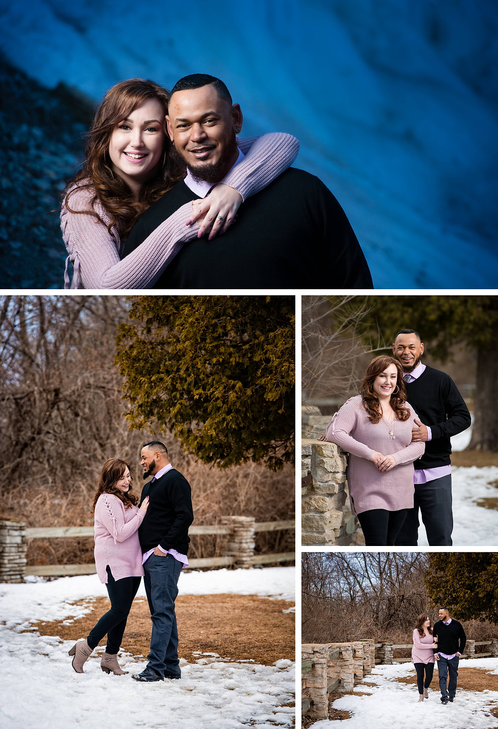 Green Bay Wisconsin Winter Engagement Weqiock Falls | Lanari Photography