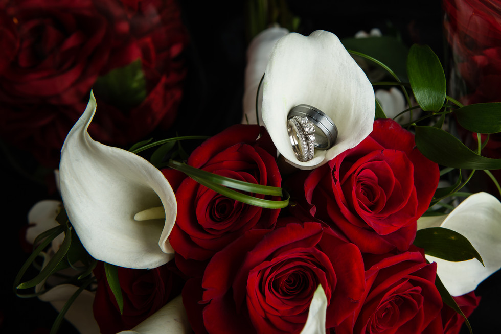Wedding Bouquet with Red Roses and White Calla Lillies