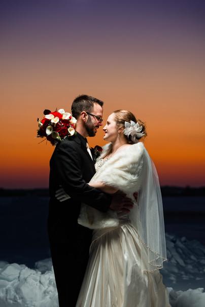 Winter Sunset Wedding Portrait