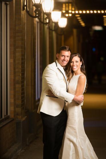 Night Wedding Portrait at Meyer Theatre Green Bay