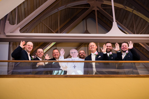 Groomsmen with Pope Francis cutout